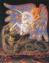 The Unicorn of Michael is who upholds the Archangel of His Peace: who is Like God? His Peace