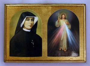 The Apostle of Divine Mercy herself...with her picture of the new Image of God, seen as the Holy Spirit Christ Jesus