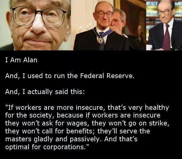 Alan Greenspan echoes Theodore Roszak word-for-word 40 years later....