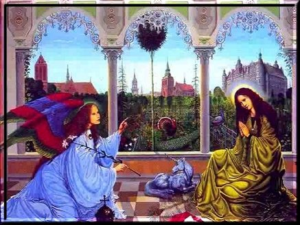 The Virgin Mary and Gabriel at the Annunciation