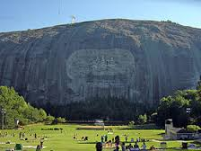 Stone Mountain in Atlanta, Georgia: the former headquarters of the KKK, and the Sacred Shrine of the Daughters of the Confederacy