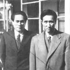 Hyo Won Eu, first President of the Unification Church in Korea, with Rev. Moon around 1955