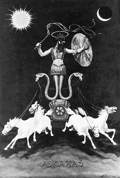 Abraxas, the god of Good and Evil; with Sun and Moon